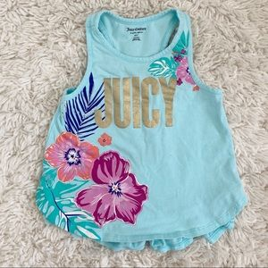 Girls Juicy Couture Blue Hawaiian Flower Racerback